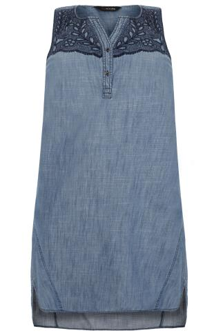 Blue Denim Embroidered Sleeveless Dress With Step Hem