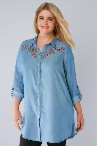 Blouses & Shirts Blue Denim Longline Shirt With Floral Embroidery 130082
