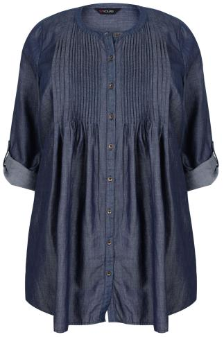 Blue Denim Longline Shirt With Pintuck Detail
