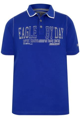 "Blue ""Eagle By Day"" Polo Shirt With Double Collar"