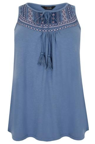 Blue Embroidered Sleeveless Longline Cotton Jersey Top With Tassel Tie