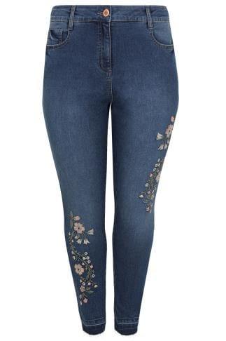 Blue Embroidered Washed Denim 5 Pocket Skinny Jeans With Raw Edge Cuffs