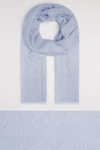 Scarves Blue Floral Embroidered Scarf 152070