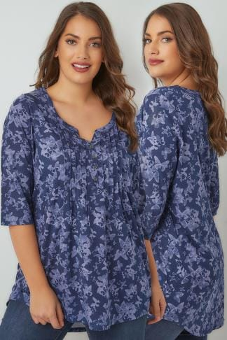 Jersey Tops Blue Butterfly Pin Tuck Jersey Top With 3/4 Sleeves 132347