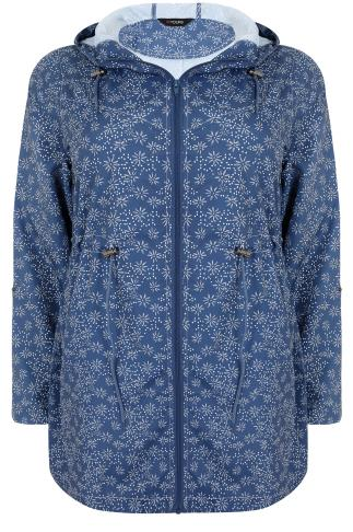 Blue Flower Print Shower Resistant Parka Jacket With Hood