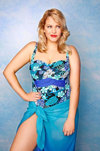 Blue & Green Tropical Hawaiian Print Swimsuit