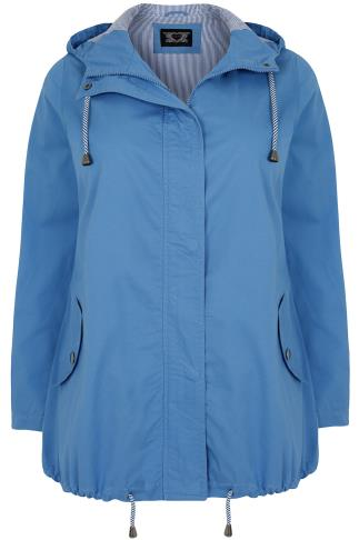 Blue Hooded Cotton Parka Jacket With Stripe Lining