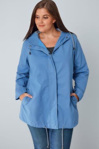 Parka Coats Blue Hooded Cotton Parka Jacket With Stripe Lining 102744