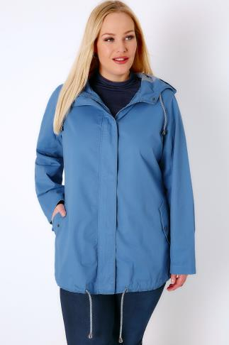 Parka Coats Blue Hooded Twill Parka With Stripe Lining 102744