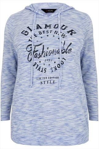 "Blue Jersey ""Glamour"" Print Hooded Sweat Top"