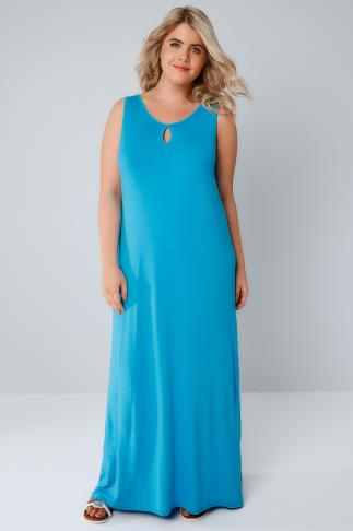 Blue Jersey Maxi Dress With Keyhole Detail 136109