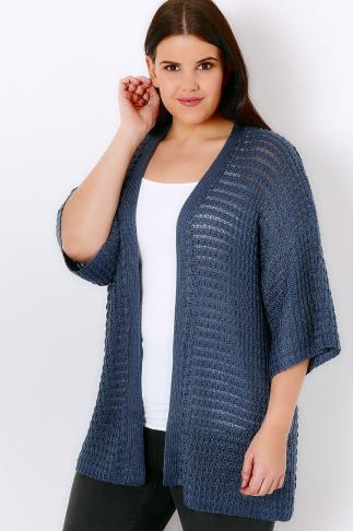 Blue Kimono Cardigan With Crochet Stripe Detail