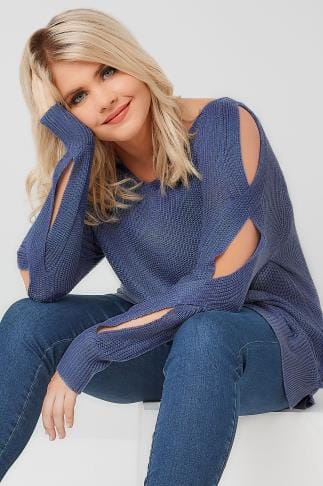 Jumpers Blue Knitted Jumper With Cold Shoulders & Dipped Hem 124117