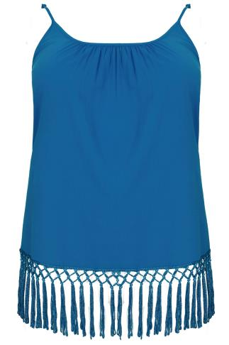 Blue Lightweight Cami Vest Top With Fringed Hem