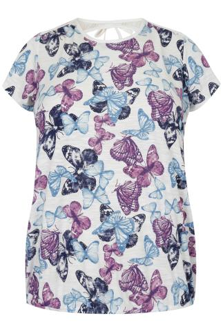 Blue, Lilac & White Mix Butterfly Print Bubble Hem Top With Lace Panel