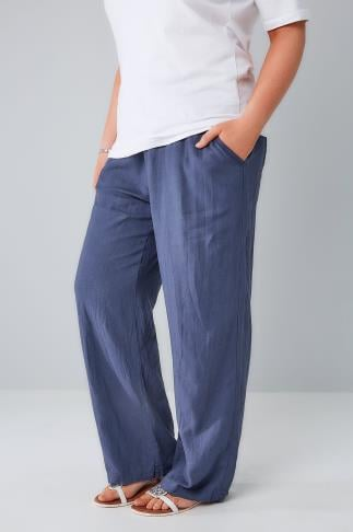 Blue Linen Mix Pull On Wide Leg Trousers With Pockets 142001