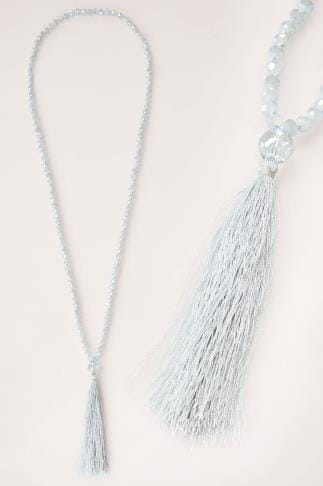 Necklaces Blue Long Bead Necklace With Tassel 152126