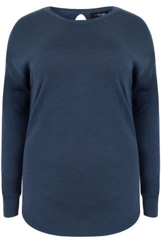 Blue Long Sleeve Jumper with Keyhole Back Detail