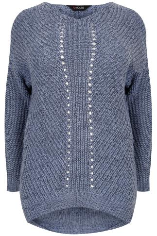 Blue Marl Cosy Knit Jumper With V-Neck