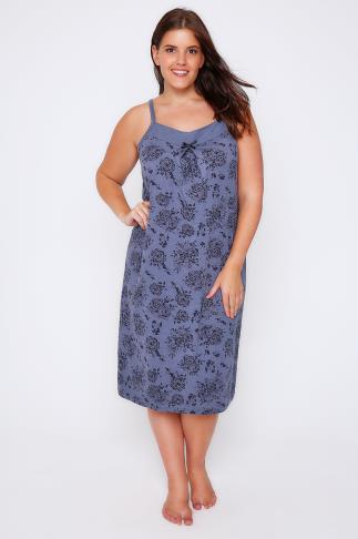 Blue Marl Floral Print Night Dress