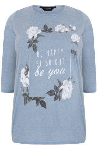 Blue Marl Floral Slogan Print T-Shirt With 3/4 Length Sleeves