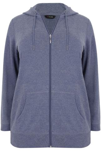 Blue Marl Hoodie With Zip Fastening