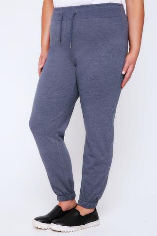 Joggers Full Length Blue Marl Joggers With Turn Up Cuffs 100748