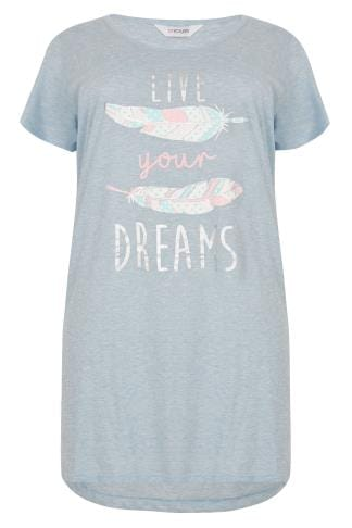 Nightdresses & Chemises Blue Marl 'Live Your Dreams' Feather Print Nightdress 148130