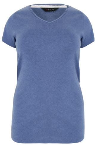 Blue Marl Short Sleeved V-Neck Basic T-Shirt
