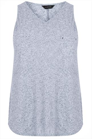 Blue Marl V Neck Sleeveless Top With Pocket Detail