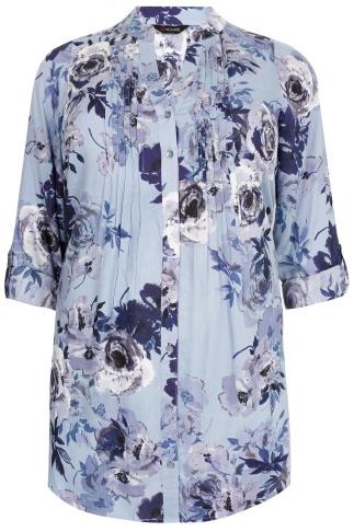 Blue Mix Floral Print Pintuck Shirt With Sequin Detail