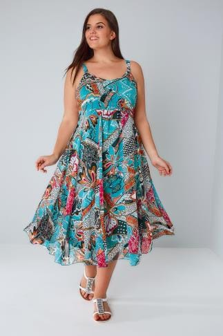 Maxi Dresses Blue & Multi Bright Pattern Dress With Embellished Neckline 136086