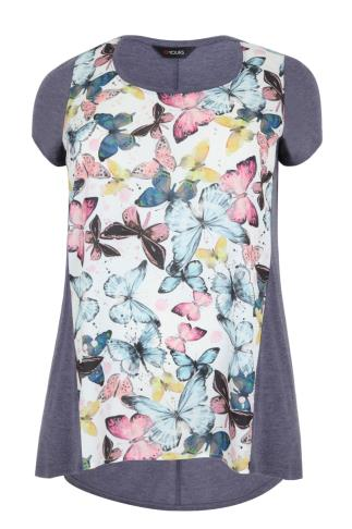 Blue & Multi Butterfly Print Woven Front Top
