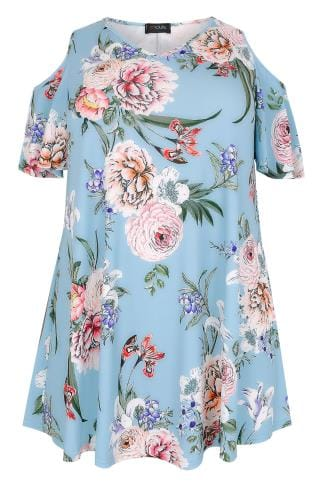 Blue & Multi Oriental Floral Print Slinky Cold Shoulder Top