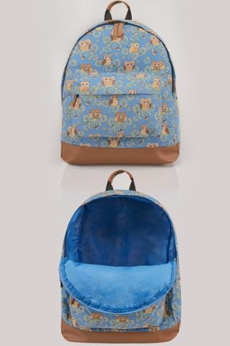 Blue & Multi Owl Print Backpack