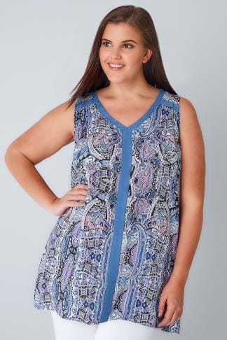 Day Tops Blue & Multi Paisley Print Sleeveless Top With Contrast Trim 130107