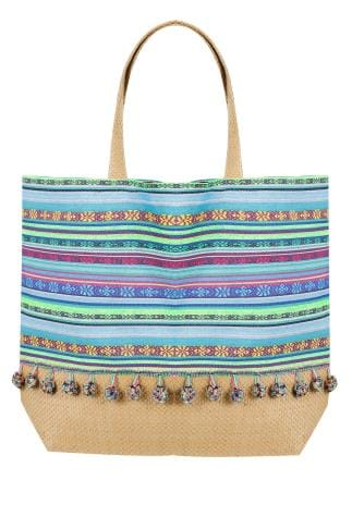 Beach Bags Blue & Multi Stripe Pom Pom Beach Bag With Straw Handles & Panel 152248