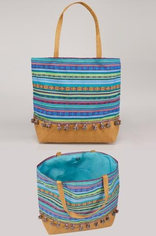 Blue & Multi Stripe Pom Pom Beach Bag With Straw Handles & Panel