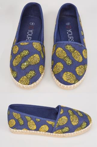 Wide Fit Flat Shoes Blue Pineapple Print Canvas Espadrille Pump In EEE Fit 056466