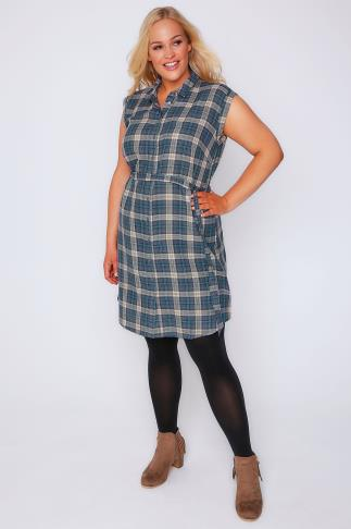 Blue & Pink Checked Button Through Shirt Dress With D-Ring Waist Tie