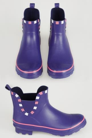 Wide Fit Wellies Blue & Pink Trim Wellington Ankle Boots In True EEE Fit 154038