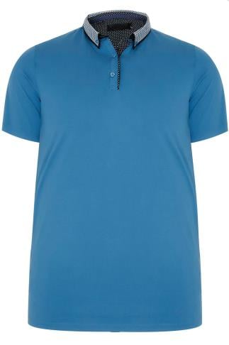 Blue Polo Shirt With Contrast Printed Collar
