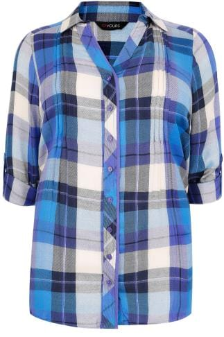 Blue & Purple Checked Pleat Detail Shirt With Metallic Detail