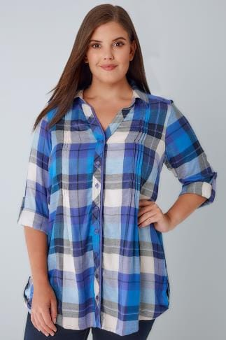 Blouses & Shirts Blue & Purple Checked Pleat Detail Shirt With Metallic Detail 130137