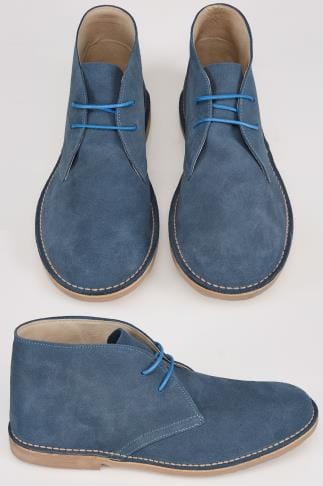 Boots Blue SUEDE Desert Boot In Wide Fit 055471