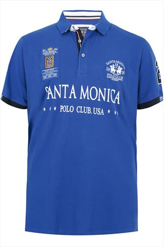 Blue Santa Monica Club Print Short Sleeve Polo Shirt