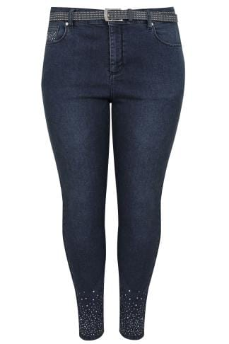 Blue Skinny Jeans With Diamante Details & Studded Belt