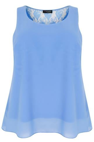 Blue Sleeveless Top With Lace Back & Double Bow Detail