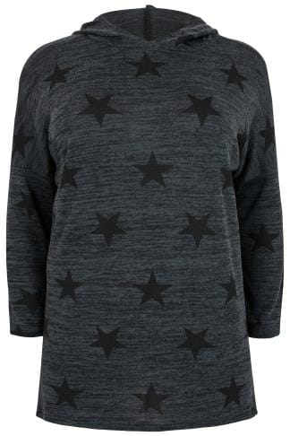 Grey Star Print Hooded Jersey Sweater