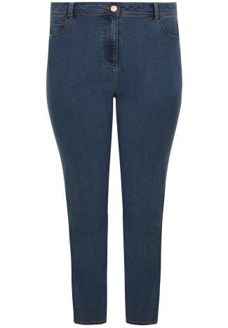 Straight Leg Blue Straight Leg Denim Jeans With 5 Pockets 142074